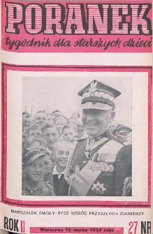 Poranek : tygodnik dla starszych dzieci. 1939. R. II, nr 27