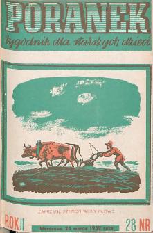 Poranek : tygodnik dla starszych dzieci. 1939. R. II, nr 28