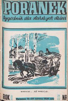 Poranek : tygodnik dla starszych dzieci. 1939. R. II, nr 39-40
