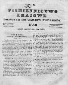 Piśmiennictwo Krajowe : dodatek do Gazety Porannej. 1840. T.2. Nr 9