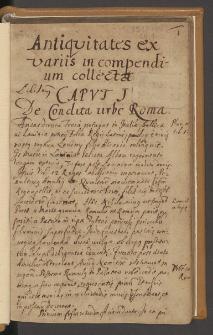 Antiqvitates es variis compendium collectae. Autograf.