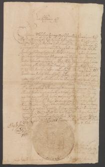 [List króla Jana II Kazimierza do Władysława Kazimierza Woyny podstarosty pińskiego z 1658 r.]. Autograf.