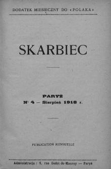 """Skarbiec. Dodatek miesięczny do """"Polaka"""". 1918-1919. Nr 4"""