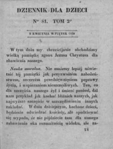 Dziennik dla Dzieci. 1830. T. 2. Nr 81