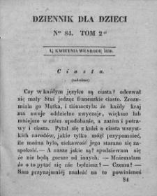 Dziennik dla Dzieci. 1830. T. 2. Nr 84