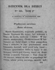 Dziennik dla Dzieci. 1830. T. 3. Nr 191
