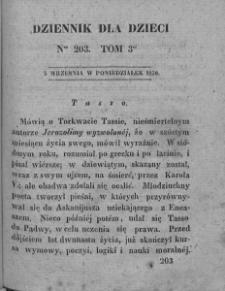 Dziennik dla Dzieci. 1830. T. 3. Nr 203